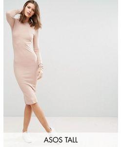 ASOS TALL | Облегающее Платье Миди В Рубчик С Длинными Рукавами