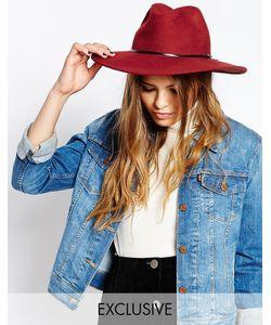 Catarzi | Мягкая Фетровая Шляпа С Широкими Полями И Кожаной Лентой