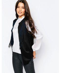 Style London   Пиджак Без Рукавов С Бахромой Черный