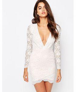 Asos | Кружевное Платье Мини С Асимметричной Кромкой Кремовый