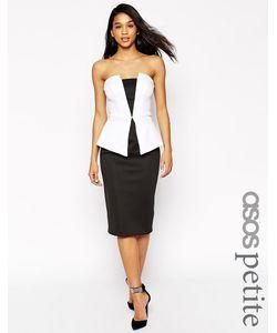 ASOS PETITE | Монохромное Платье Миди С Баской Premium Черно-Белый