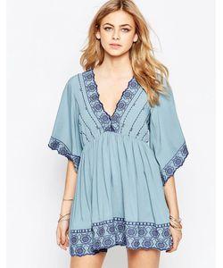 Hazel | Платье С V-Образным Вырезом И Вышивкой Деним
