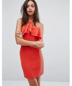 Oh My Love   Облегающее Платье С Оборкой Красный