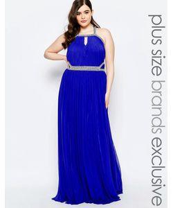Forever Unique Plus | Декорированное Платье Макси С Вырезом Капелькой Синий