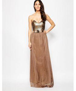 Rare Opulence | Плиссированное Платье Макси С Отделкой