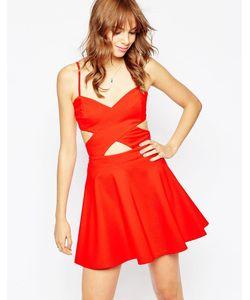 WYLDR | Короткое Приталенное Платье С Вырезами In Love Красный