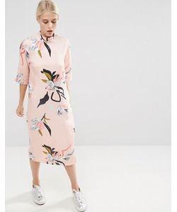 Asos | Платье Миди С Высоким Воротом И Цветочным Принтом