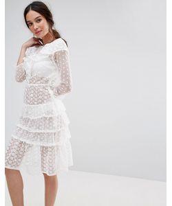 MISSGUIDED | Ярусное Платье Миди С Оборками
