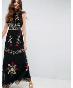 Asos | Платье Макси С Высоким Воротом И Вышивкой