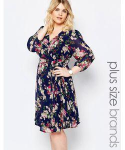Yumi Plus | Короткое Приталенное Платье С Запахом Спереди И Цветочным Принтом