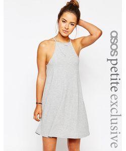 ASOS PETITE | Свободное Платье В Рубчик С Высокой Горловиной Черный