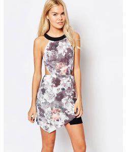 Style Stalker | Платье С Цветочным Принтом И Вырезом Сердечком Мульти