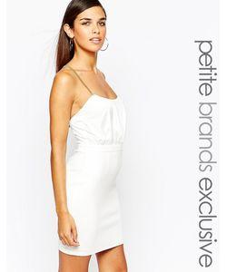Lipstick Boutique Petite   Облегающее Платье С Перекрестными Цепочками Сзади Белый