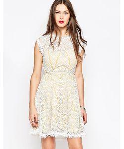 Adelyn Rae | Желто-Белое Кружевное Платье