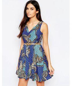 Mela Loves London   Платье Мини С Vобразным Вырезом И Принтом Пейсли