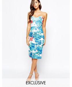 True Violet | Платье Миди С Вырезом Сердечком И Цветочным Принтом