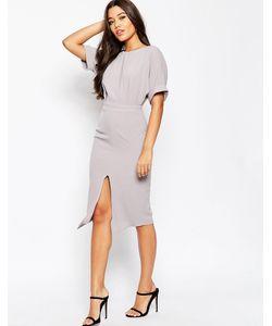 Asos | Платье С Разрезом Спереди Пыльно-Лиловый