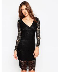 Sistaglam | Кружевное Платье С Длинными Рукавами Nina Черный