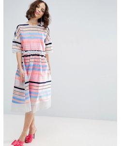 Asos   Свободное Платье С Флуоресцентными Полосками Salon