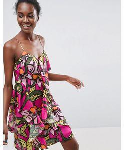 ASOS Made In Kenya   Платье С Оборками И Тропическим Цветочным Принтом