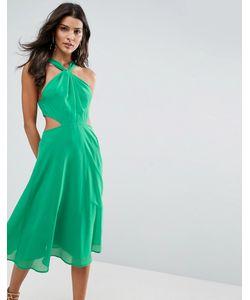 Asos | Платье Миди С Вырезами По Бокам И Отделкой На Вороте