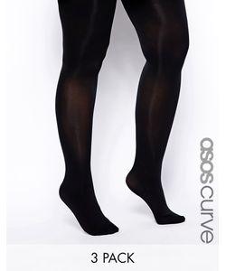 ASOS CURVE | Комплект Из 3 Колготок 80 Ден Черный
