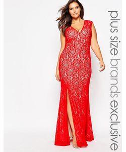Forever Unique Plus | Кружевное Платье Макси С Глубоким Вырезом
