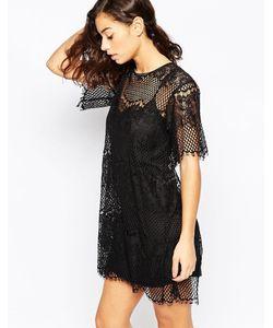 Mela Loves London | Цельнокройное Платье С Кружевной Вставкой