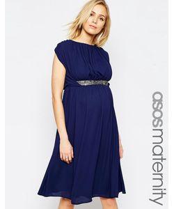 ASOS Maternity | Платье Миди Для Беременных С Декоративной Отделкой Темно-Синий