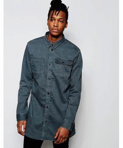 D.I.E | Серая Удлиненная Джинсовая Рубашка Классического Кроя . Workman Выбеленный Серый
