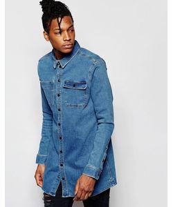 D.I.E | Голубая Длинная Джинсовая Рубашка Классического Кроя . Workman