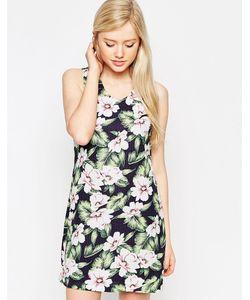 Style London   Платье С Тропическим Цветочным Принтом Синий