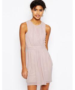 Asos | Сетчатое Платье Мини Со Складками Сумеречно-Розовый
