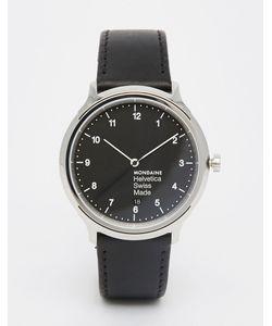 Mondaine | Черные Часы 40 Мм На Кожаном Ремешке Helvetica Черный