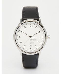 Mondaine | Часы С Черным Кожаным Ремешком И Корпусом 40 Мм Helvetica