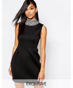 Rare | Платье Мини С Высокой Горловиной London Черный