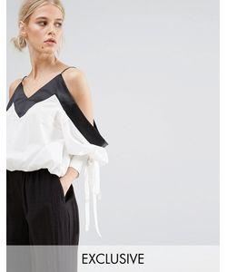 Zacro | Укороченная Блузка С Открытыми Плечами И Отделкой На Рукавах