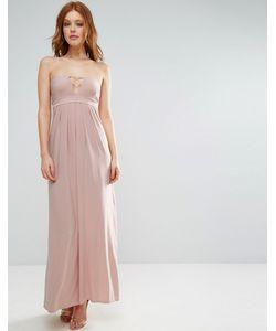 City Goddess   Длинное Платье Бандо С Отделкой Лямками