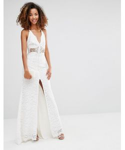 JARLO | Eden Maxi Dress With Crochet Insert And Front Split