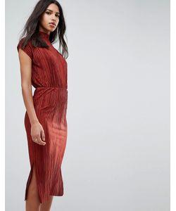 Asos   Плиссированное Платье С Высоким Воротом