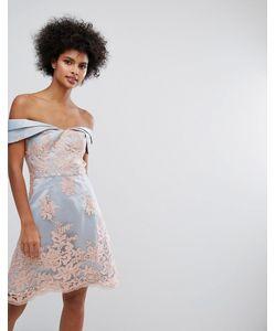 Chi Chi London | Платье Мини Из Премиум-Кружева С Открытыми Плечами