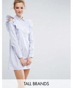 Fashion Union Tall | Платье-Рубашка С Оборками На Плечах