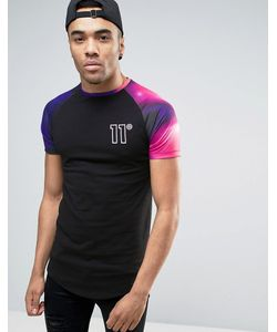 11 Degrees | Muscle T-Shirt In With Sleeve Print