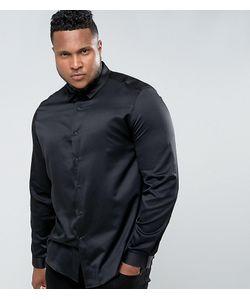 Asos | Черная Атласная Рубашка Классического Кроя Plus