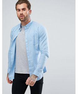 River Island | Голубая Облегающая Оксфордская Рубашка