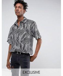 Reclaimed Vintage | Черная Рубашка Классического Кроя С Листьями Inspired