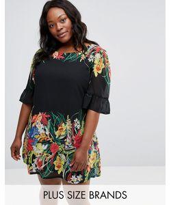 Yumi Plus | Свободное Платье С Оборками На Рукавах И Принтом