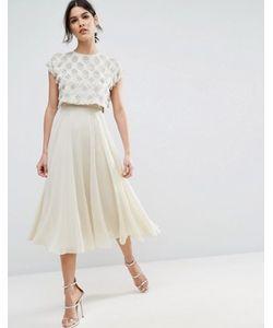 Asos   Приталенное Платье Миди С Декорированным Кроп-Топом