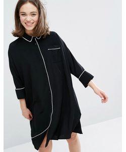 Monki | Платье-Рубашка В Пижамном Стиле С Контрастной Окантовкой