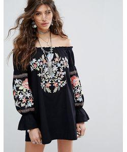 Free People | Платье С Открытыми Плечами И Вышивкой